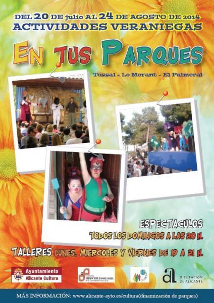 Del 20 de Julio al 24 de Agosto actividades veraniegas en tus parques de Alicante
