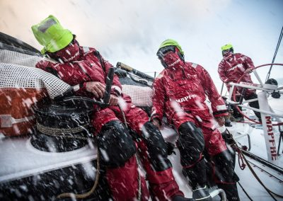 June 09, 2015. Leg 8 to Lorient onboard MAPFRE. Day 02. Carlos Hernandez, Rafael Trujillo and Rob Greenhalgh during a late watch